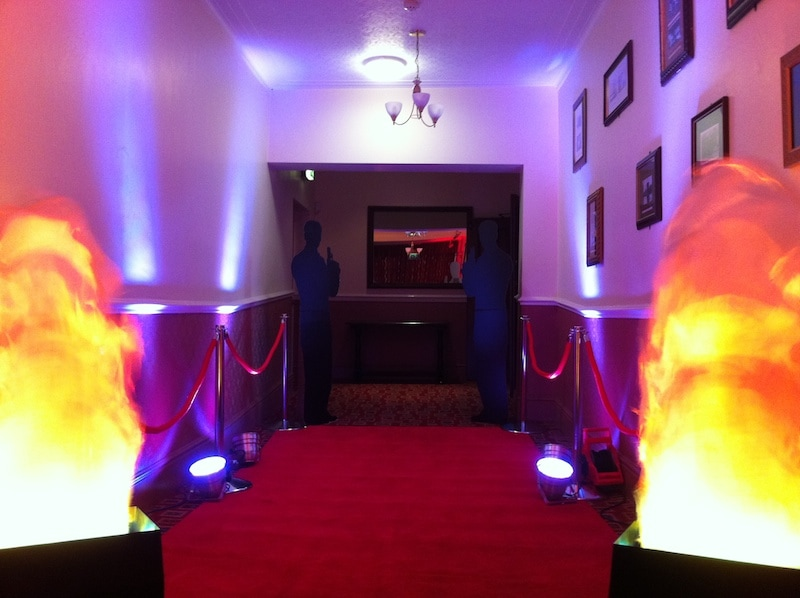 Flame lights and red carpet, wedding idea