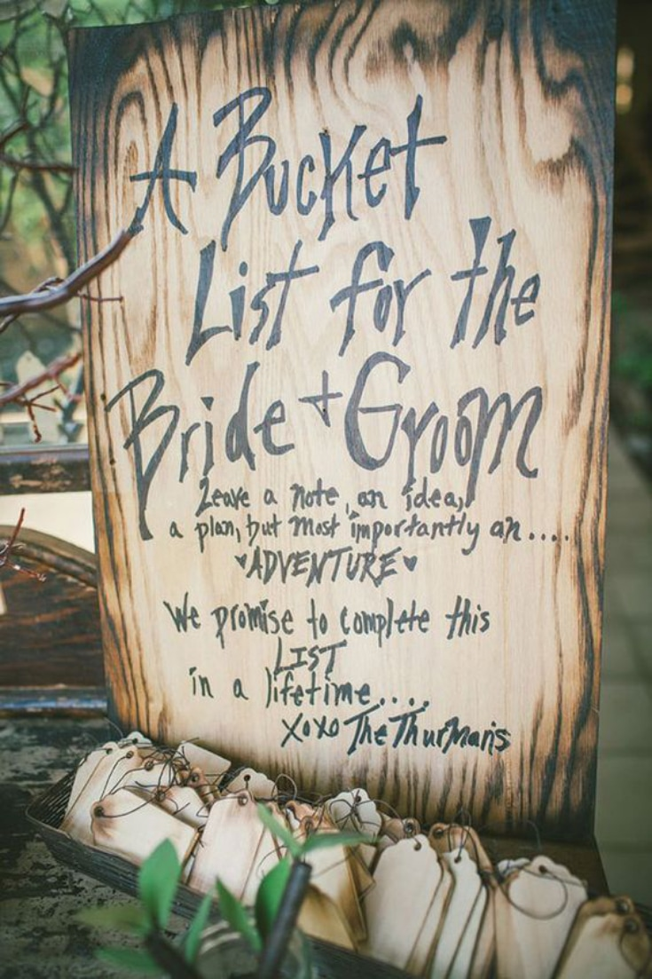 Bride and Groom bucket list -  wedding guestbook ideas